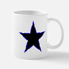 Dotted Blue Trim Black Star Mugs