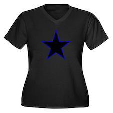 Dotted Blue Trim Black Star Plus Size T-Shirt