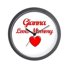 Gianna Loves Mommy Wall Clock