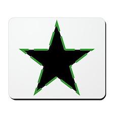 Dotted Green Trim Black Star Mousepad