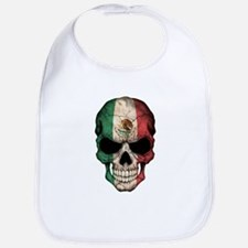 Mexican Flag Skull on Black Bib