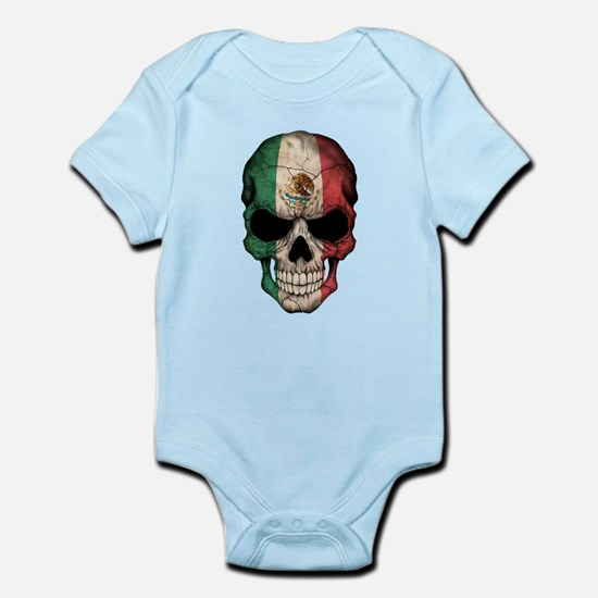 Mexican Flag Skull on Black Body Suit