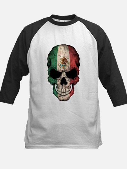 Mexican Flag Skull on Black Baseball Jersey