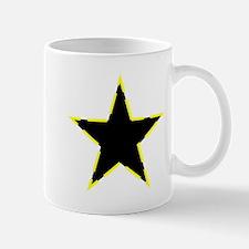Dotted Yellow Trim Black Star Mugs