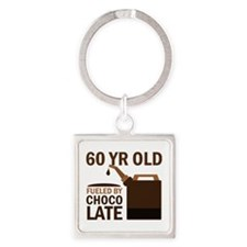 60 Year Old Chocolate Square Keychain