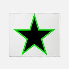 Neon Green Trim Black Star Throw Blanket