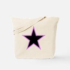 Pink Trim Black Star Tote Bag