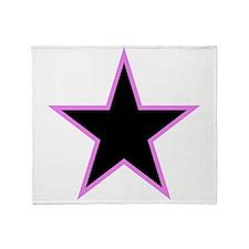 Pink Trim Black Star Throw Blanket