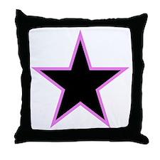 Pink Trim Black Star Throw Pillow
