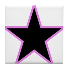 Pink Trim Black Star Tile Coaster