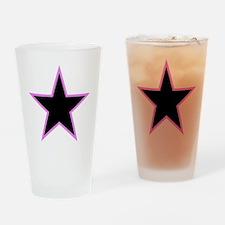 Pink Trim Black Star Drinking Glass