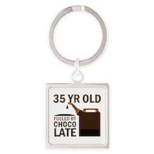 35th Birthday Chocolate Square Keychain
