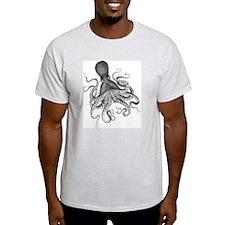 Black and White Vintage Wood Block Print Octopus T