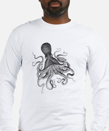 Black and White Vintage Wood Block Print Octopus L