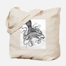 Black and White Vintage Wood Block Print Octopus T