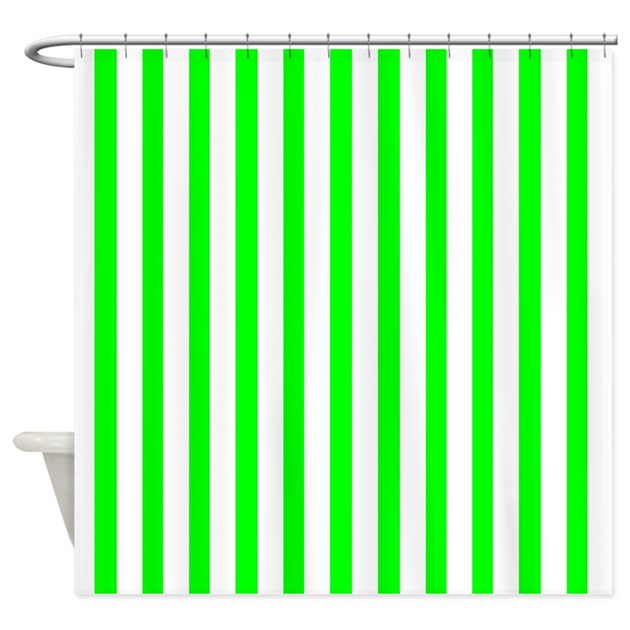 White And Neon Green Stripes Shower Curtain By CoolPatterns