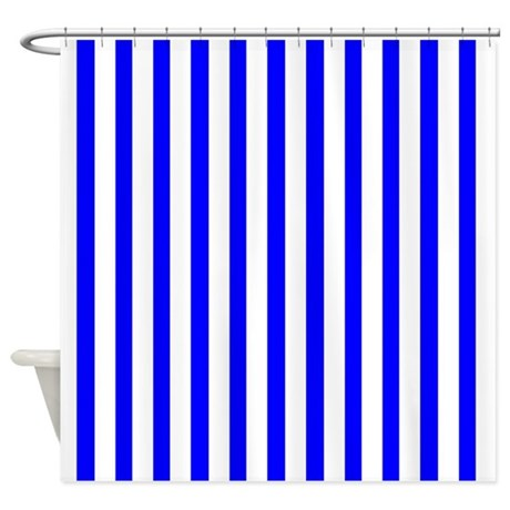 white and blue stripes shower curtain by coolpatterns
