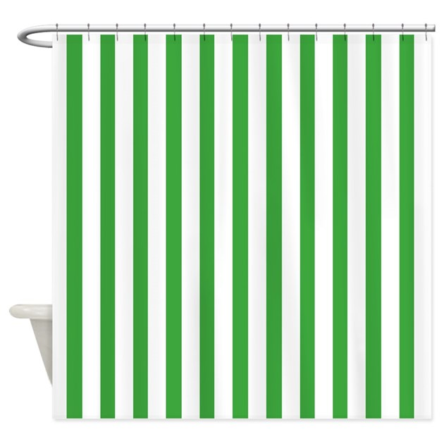White And Green Stripes Shower Curtain By Coolpatterns