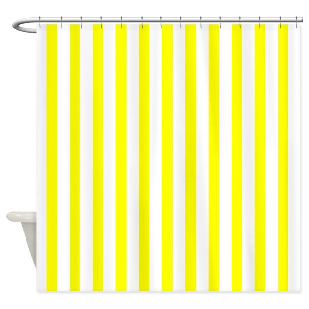 White And Yellow Stripes Shower Curtain By CoolPatterns