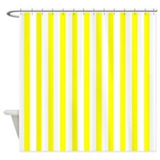 White and Yellow Stripes Shower Curtain