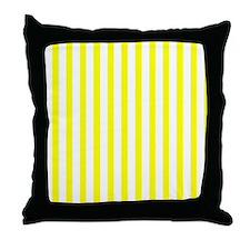 White and Yellow Stripes Throw Pillow