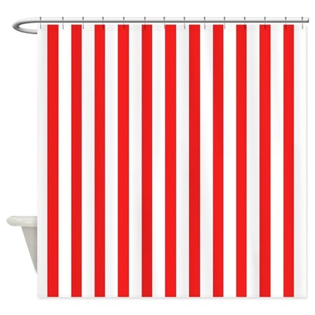 White And Red Stripes Shower Curtain By Coolpatterns