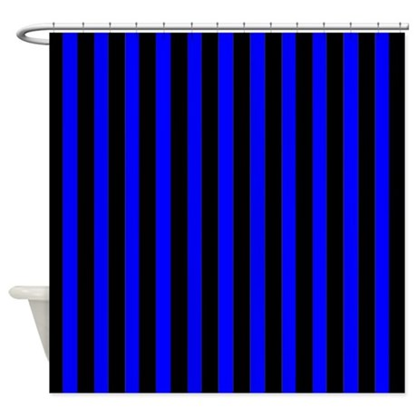 Black And Blue Stripes Shower Curtain By Coolpatterns