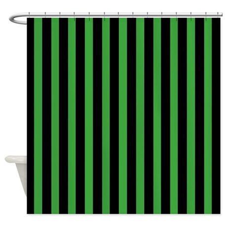 Black And Green Stripes Shower Curtain By CoolPatterns
