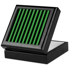 Black and Green Stripes Keepsake Box