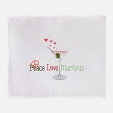 Peace Love martinis Throw Blanket