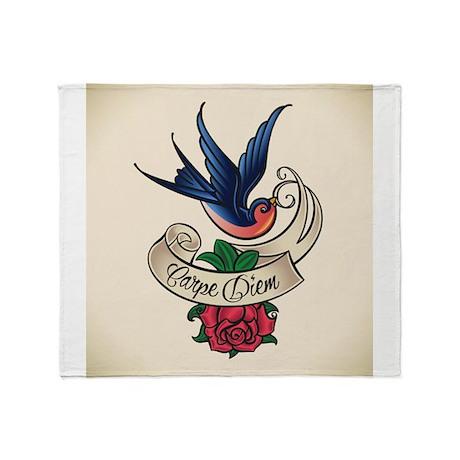 carpe diem bluebird tattoo style Throw Blanket