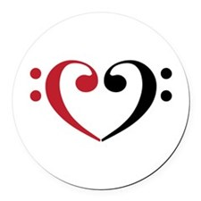 Bass Clef Heart Round Car Magnet