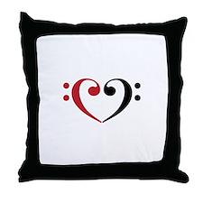 Bass Clef Heart Throw Pillow