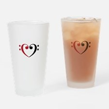 Bass Clef Heart Drinking Glass