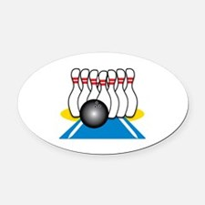 Bowling Ball & Pins Oval Car Magnet