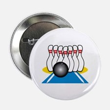 "Bowling Ball & Pins 2.25"" Button"