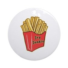 French Fry Junkie Ornament (Round)