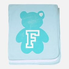 Cute Teddy Bear with Letter F baby blanket
