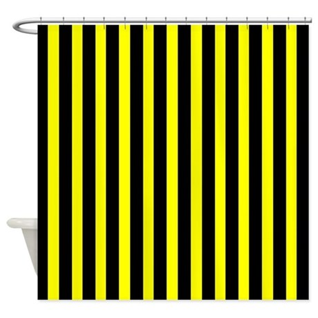 black and yellow stripes shower curtain by coolpatterns. Black Bedroom Furniture Sets. Home Design Ideas