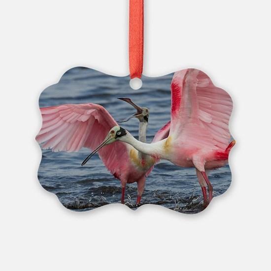 Upset Spoonbills Ornament
