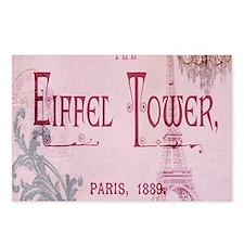 pink vintage chandelier paris eiffel tower Postcar