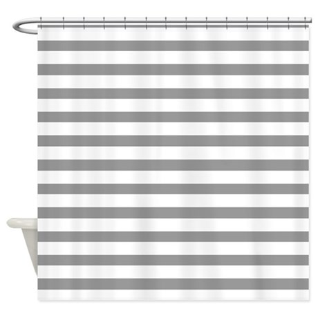 white and grey stripes shower curtain by coolpatterns