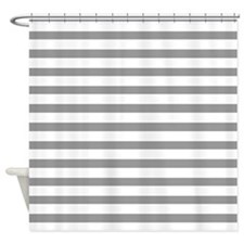 White and Grey Stripes Shower Curtain