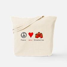 Peace Love Strawberries Tote Bag