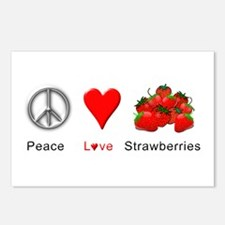 Peace Love Strawberries Postcards (Package of 8)