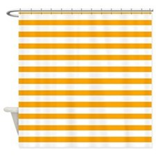 White and Orange Stripes Shower Curtain