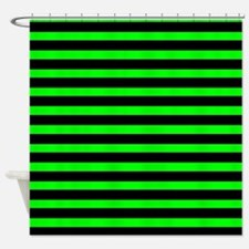 Black and Neon Green Stripes Shower Curtain
