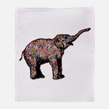 Elephant in Polka Dots Throw Blanket