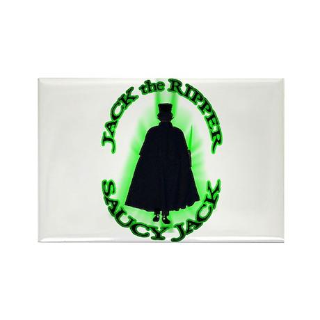 Saucy Jack Black N Green Rectangle Magnet
