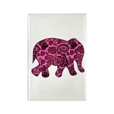 Pink Paisley Elephant Rectangle Magnet (100 pack)